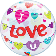 "I Love You Banners Bubble Balloon (22"") 1pc"